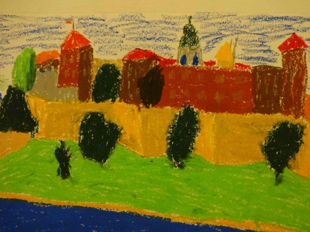 『クラクフとヴァヴェル城』 作者: Maksymilian Maas  (2006年生まれ) ---
