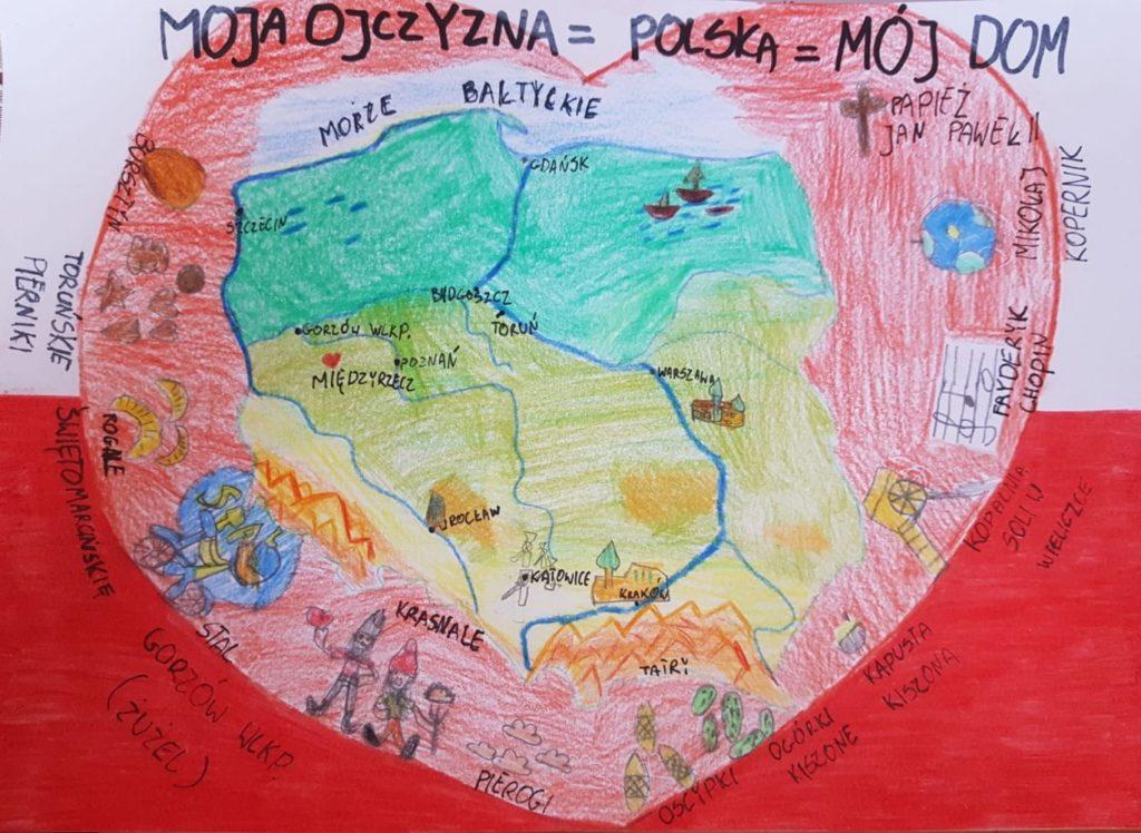 『私たちの母国=ポーランド=私の家』  作者: Martyna Sieniawska  (2010年生まれ) ---