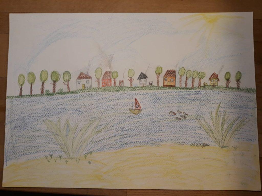 『Leźnica Wielkaの池』 作者: Emilia Makuch  (2009年生まれ )  ---